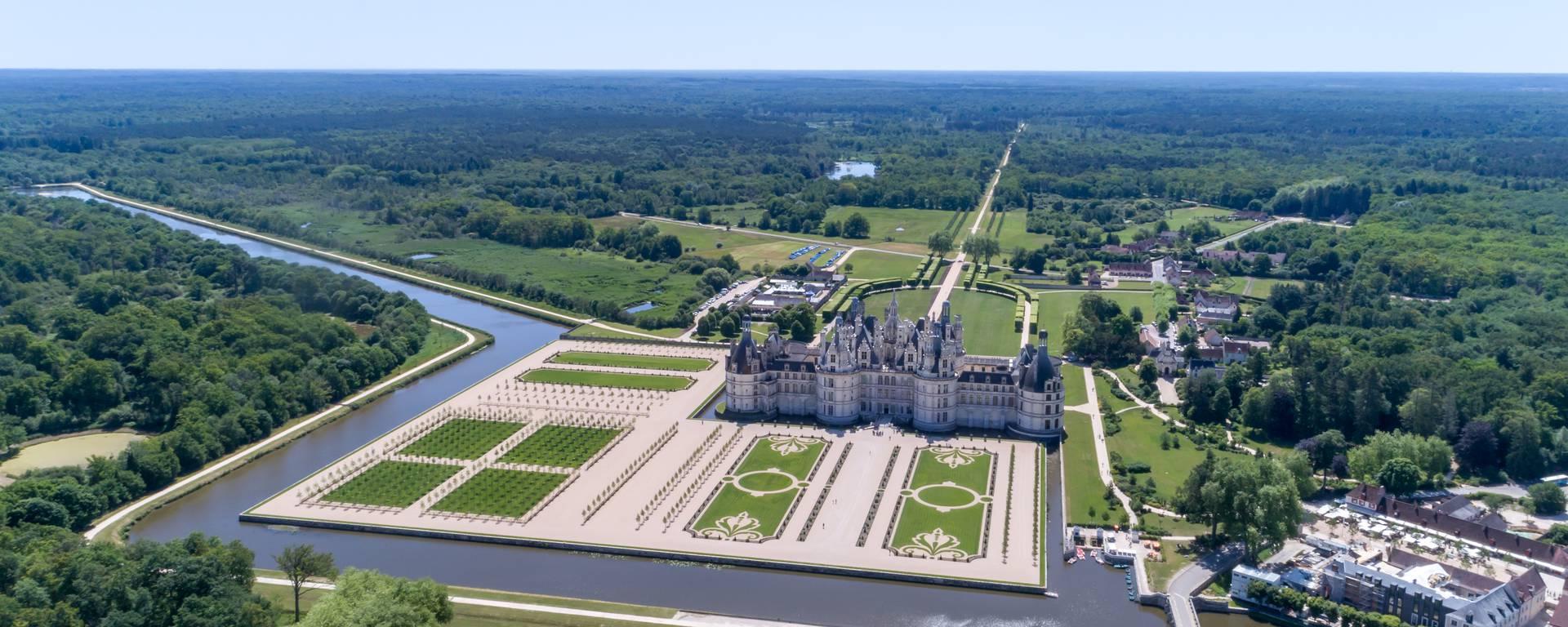 Vue aérienne des jardins de Chambord