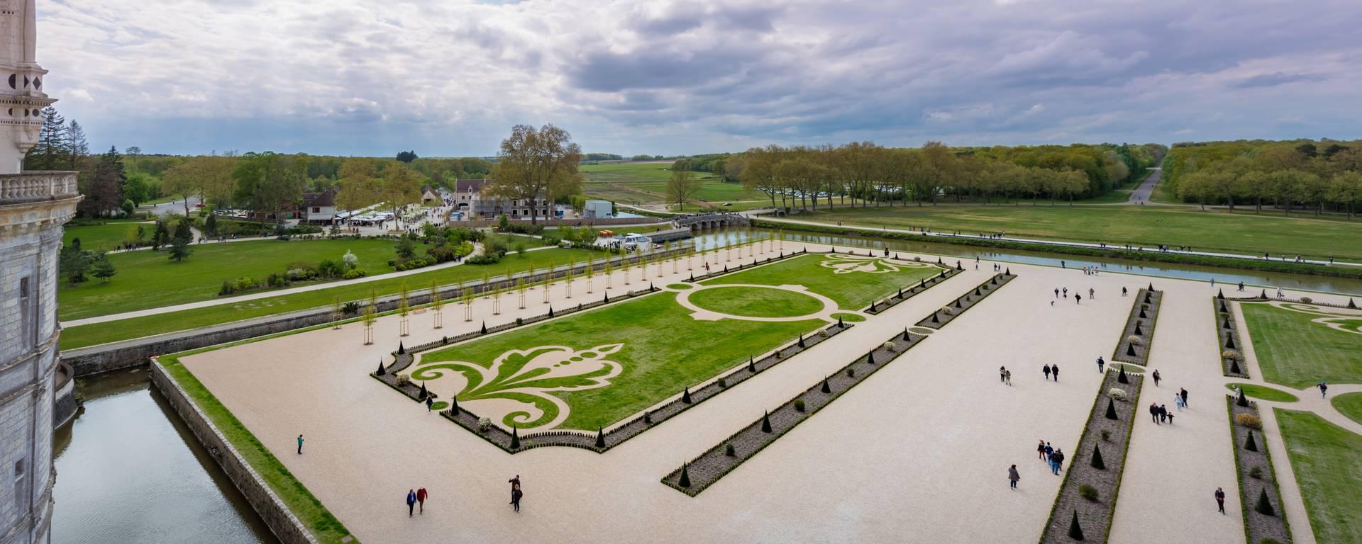 Les jardins de Chambord vus du ciel