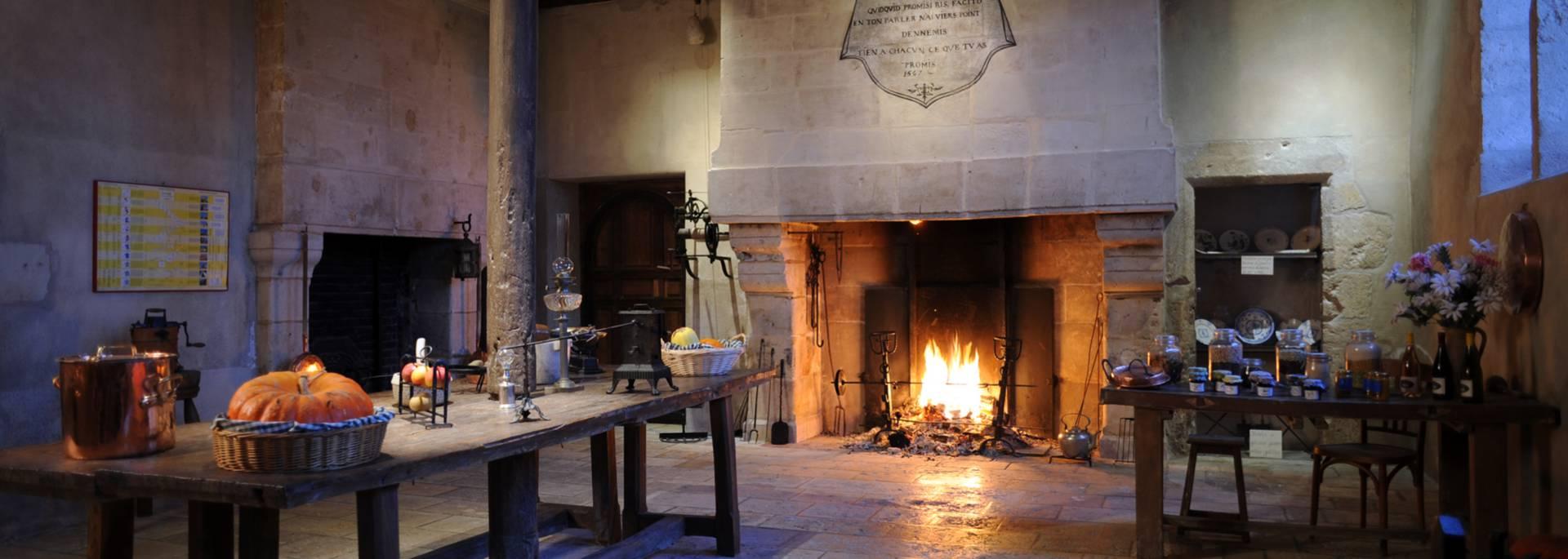 Feu de cheminée au château de Beauregard