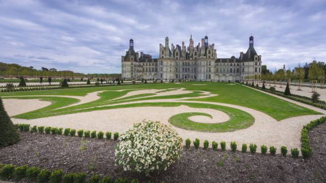 French style gardens in the castle of Chambord