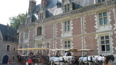 Attelage prestige devant le château royal de Blois. © OTBC
