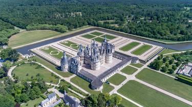 Vue aérienne des jardins du château de Chambord. © Drone Contrast