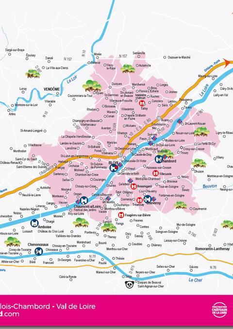Carte administrative du territoire Blois Chambord - Val de Loire