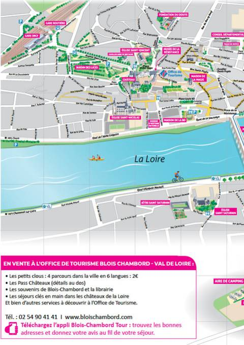 Plan de Blois et des châteaux - Recto/verso A3