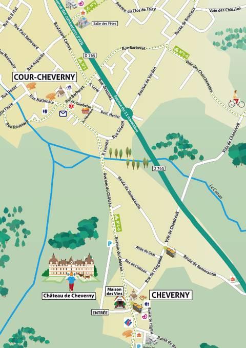 Plan de Cheverny & Cour-Cheverny