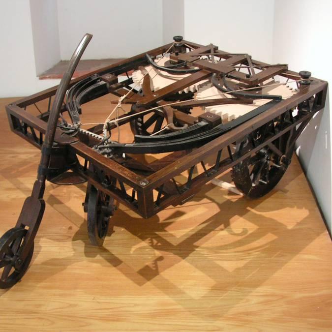 L'ancêtre de l'automobile par Léonard de Vinci. © Léonard de Serres