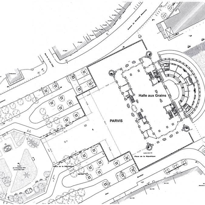 Le plan du parvis de la Halle aux grains
