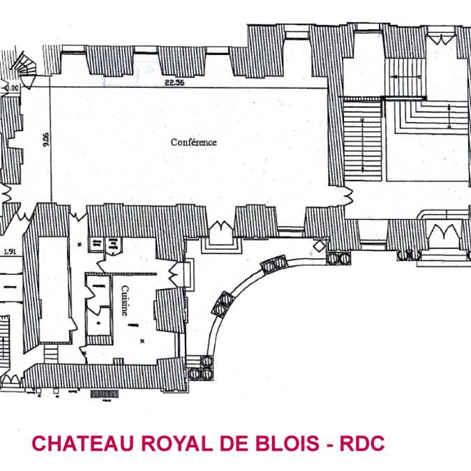 Le plan de la salle des conférences du château royal de Blois