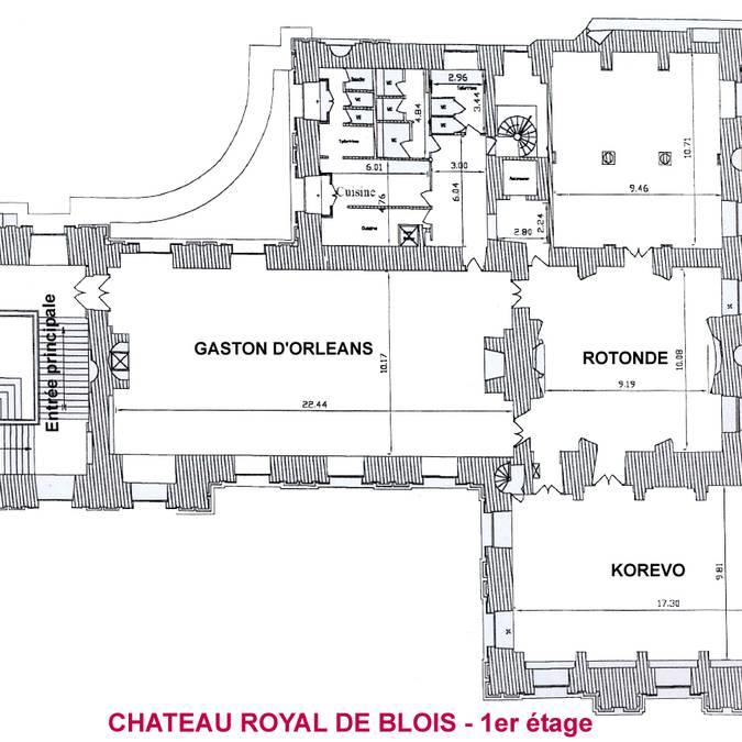 Le plan du premier étage et de la salle Gaston d'Orléans du château royal de Blois